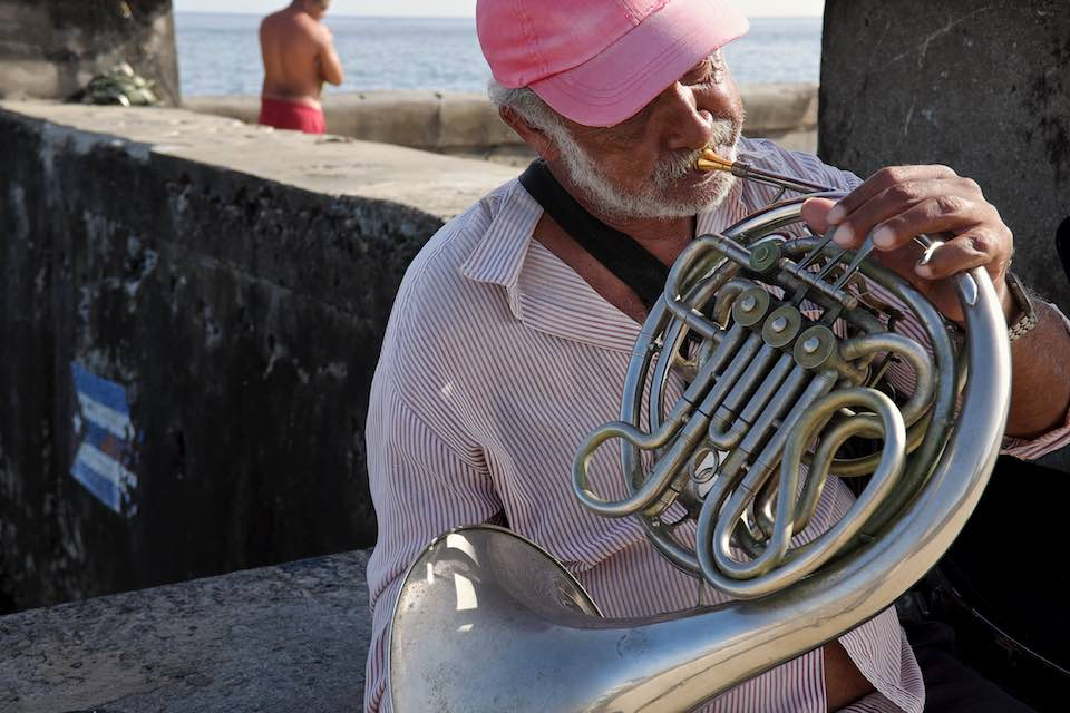 Man playing flugelhorn, Havana, 2015